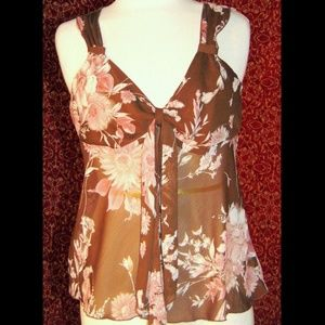 BYER brown sheer floral sleeveless blouse L